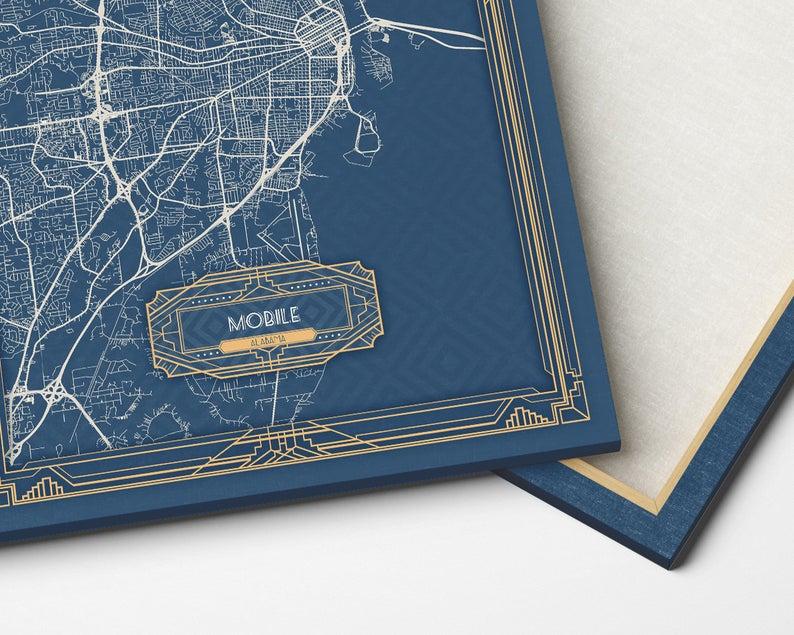Mobile Al Alabama Canvas Map Print Art Deco Stretched Map Wall Etsy In 2020 Map Wall Art Canvas Map Art Map Art