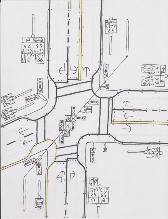 Traffic light intersection at some one way streets. | Road Drawings ...