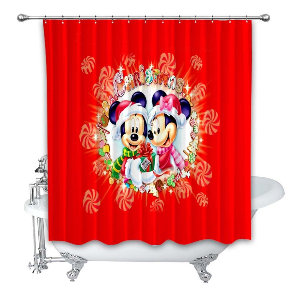 New Luxury Christmas Mickey Minnie Mouse Cartoon Custom Shower