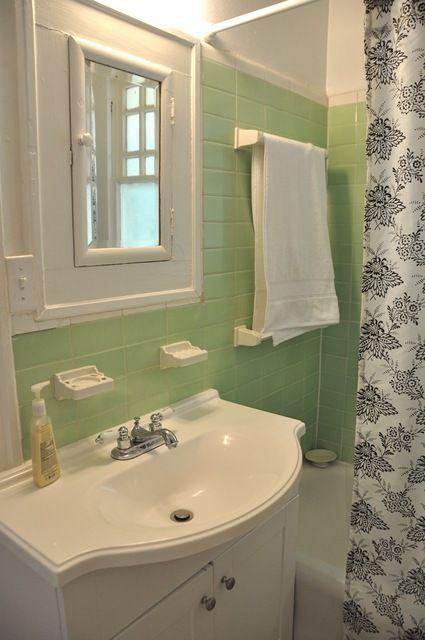 trim in small bathrooms. vintage mint tile white trim border  Mint BathroomSmall small bathroom ideas