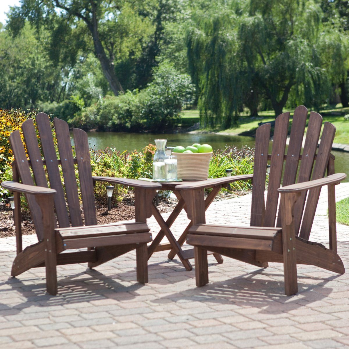 Adirondack Chair Set Coral Coast Adirondack Chair Set With Free Side Table Dark Brown