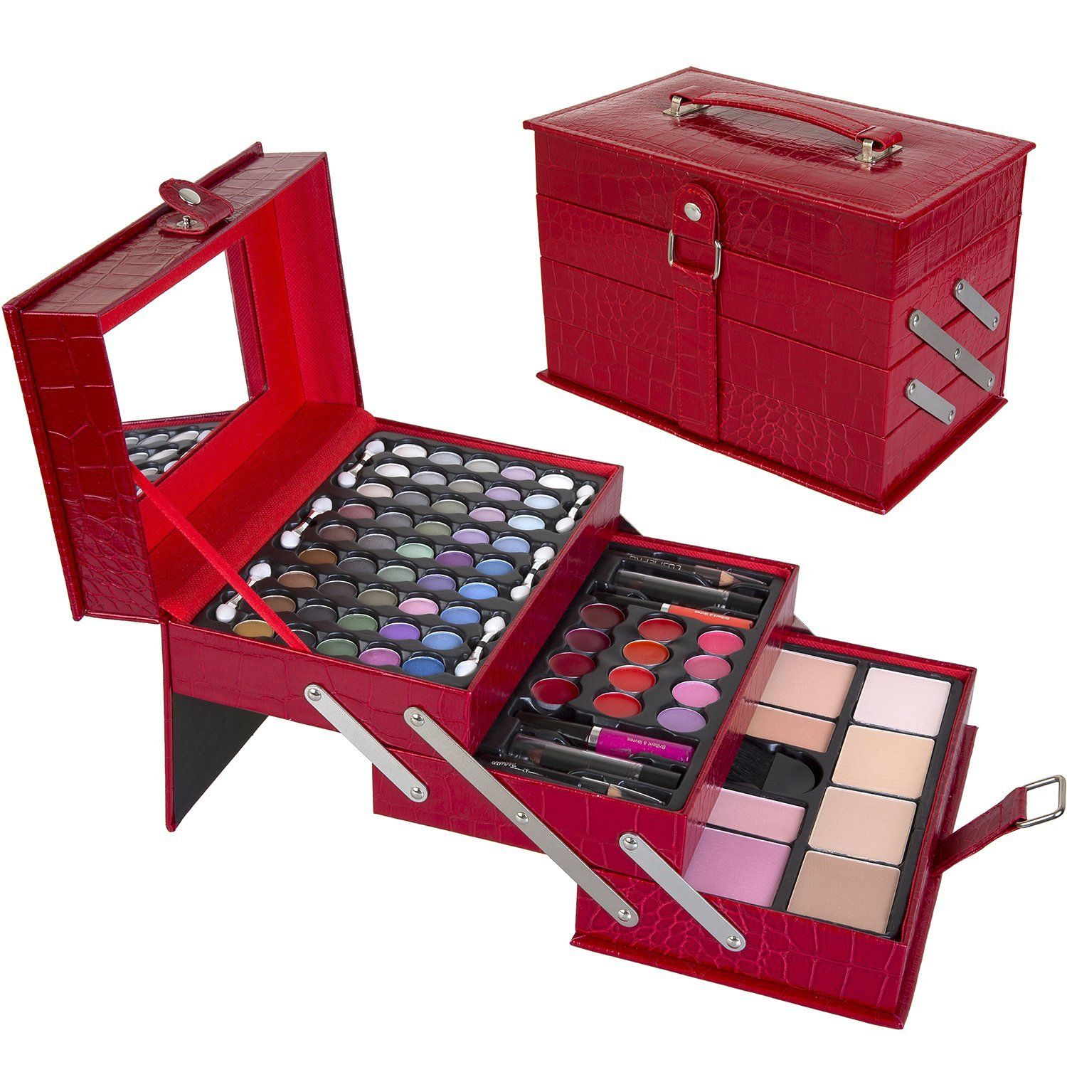 makeup kit with eyeshadows, powders, and brushes. makeup