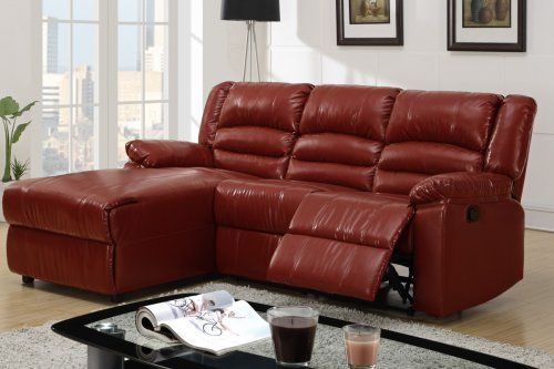F6642 bay burgundy bonded leather recliner sectional for Burgundy leather chaise
