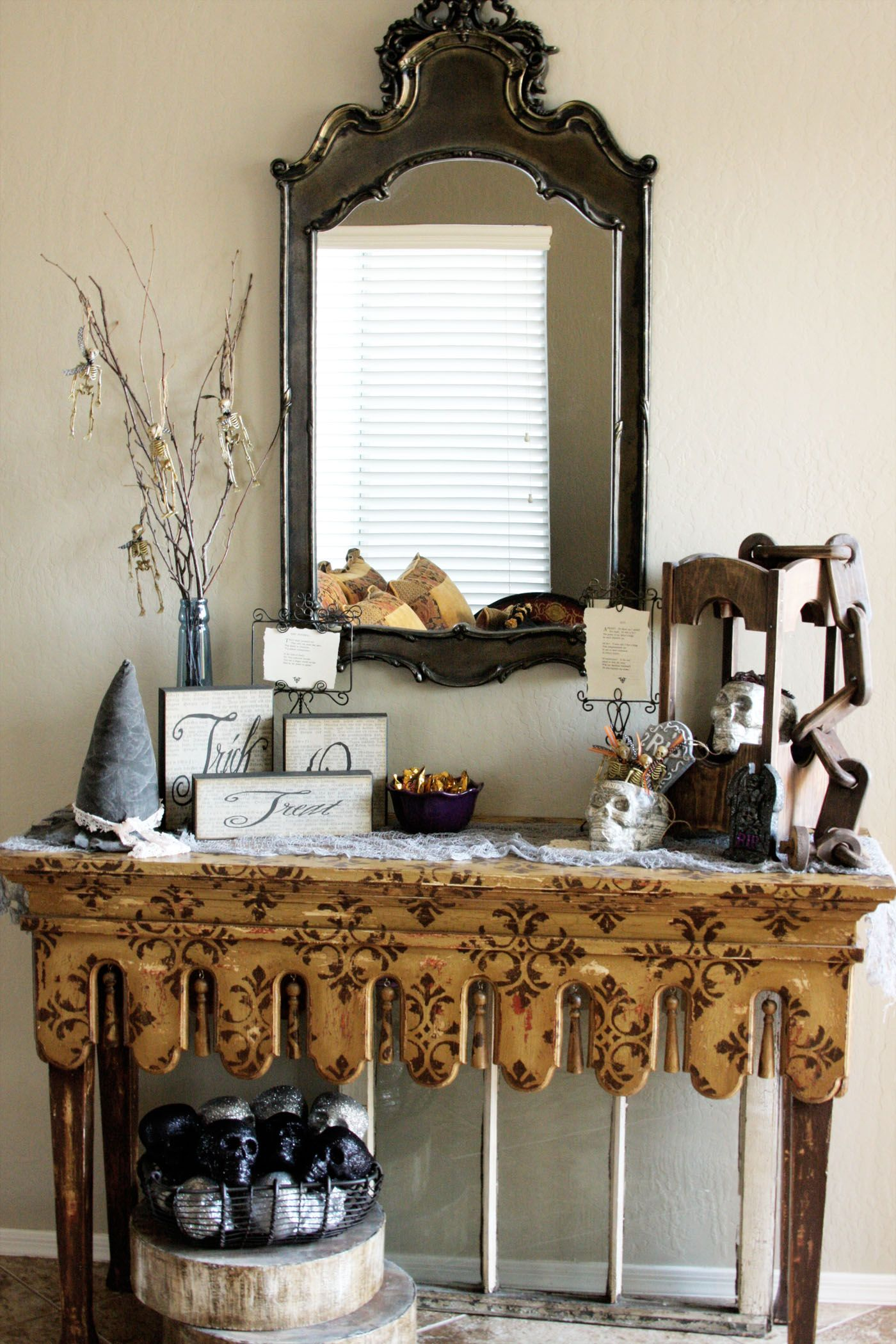 unique console table decor idea with wooden letters feat spooky hanging skeletons also black wall mirror inspiring console table decor ideas transforming