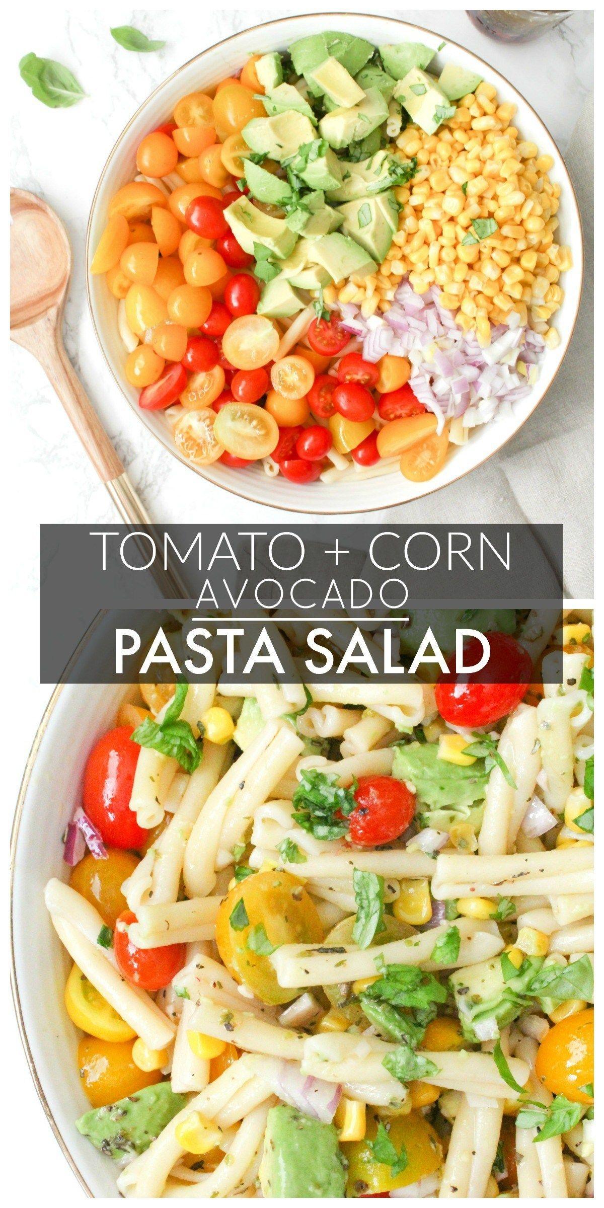 Tomato Corn Avocado Pasta Salad