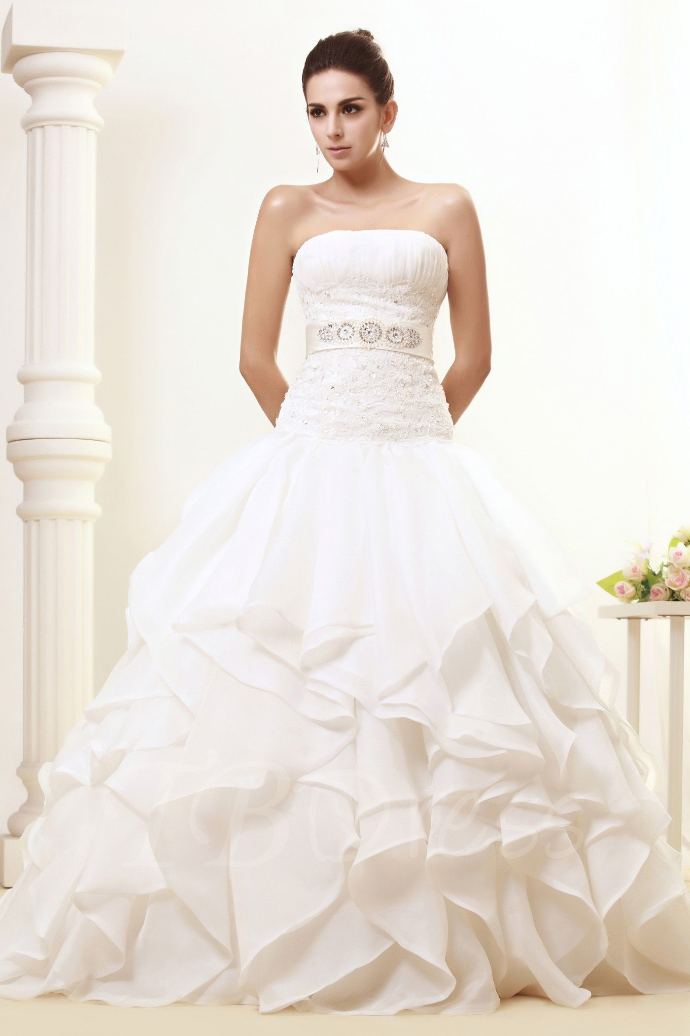 offers high quality Strapless Ball Gown Tiered