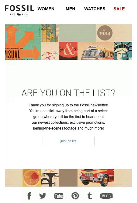 Fossil Email Design Newsletter Signup Newsletter Inspiration Email Marketing Email Design