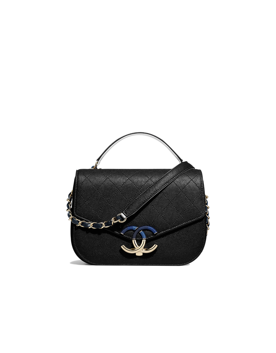 d17718bbf7dae2 Flap bag with top handle, grained calfskin & gold-tone metal-black & navy  blue - CHANEL