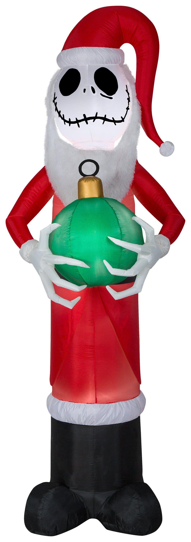 8 Airblown Mixed Media Jack Skellington As Santa W Fuzzy