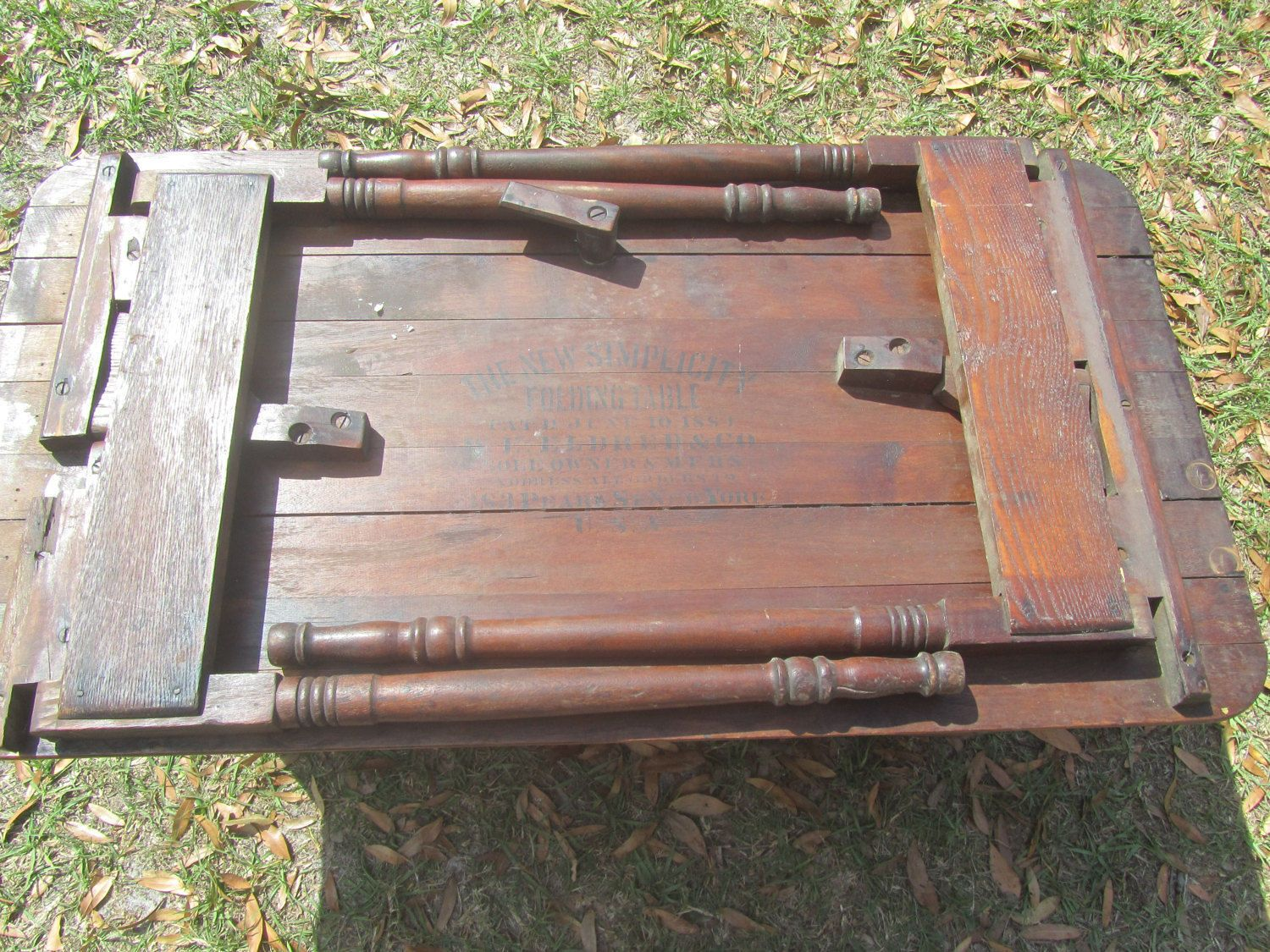 Antique Sewing Table, New Simplicity Folding Table, Pat June 10 1884, W E  Eldred