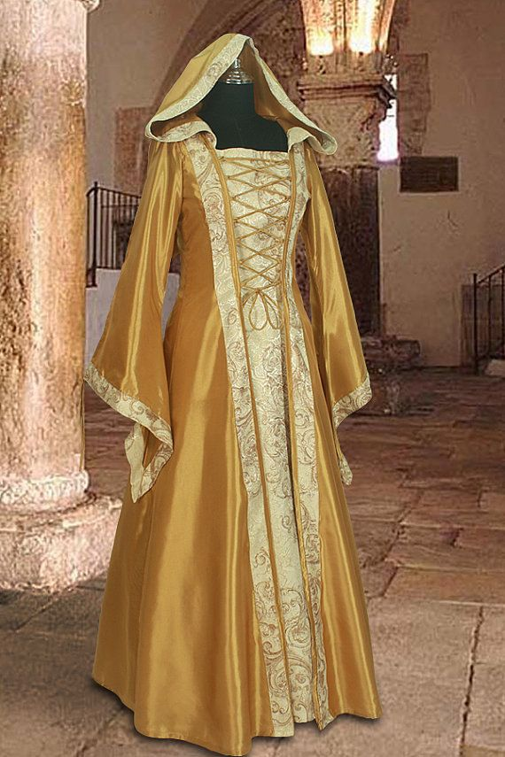 Medieval Dress Gown In Gold And Cream Renaissance Costume Clothing With Hood In Dresses From Women S Clothing Medieval Dress Gowns Dresses Renaissance Dress