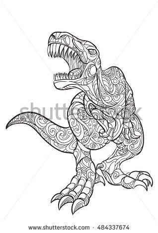 Hand draw of Dinosaur Trex in