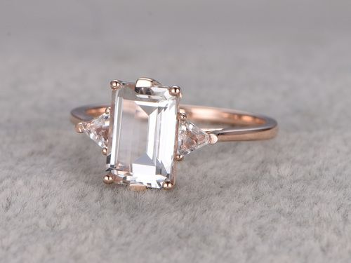 6x9mm Emerald Cut White Topaz Engagement Ring Trillion Cut Topazs