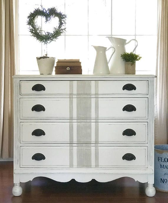 Best Farmhouse Painted Distressed White Dresser With Grain 400 x 300