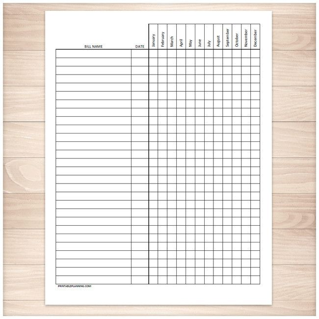 Bill Payment Tracker Log  Full Year  Printable  Logs Budgeting