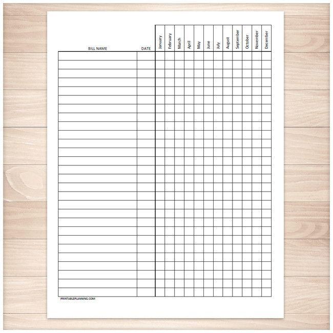 Bill Payment Tracker Log - Full Year - Printable | Logs ...