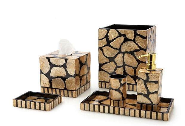 S/6 Capiz Bath Accessories, Gold U0026 Black On OneKingsLane.com
