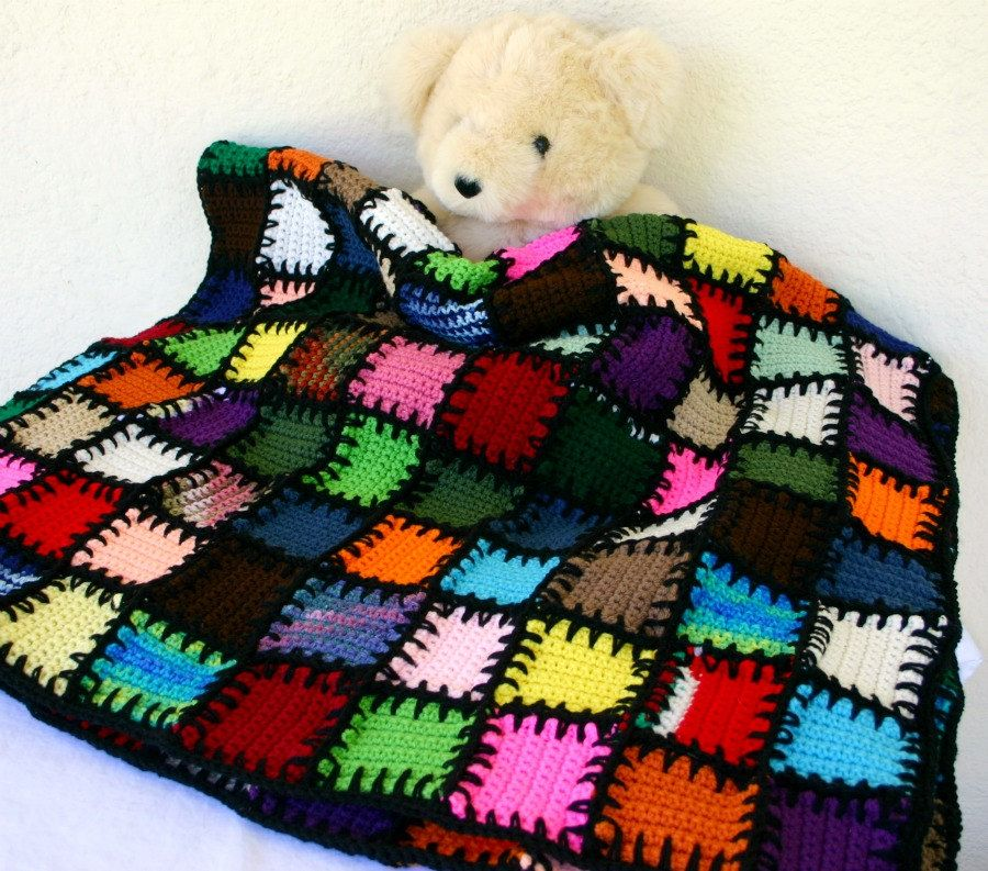 Scrap yarn afghan colorful crocheted lap throw blanket shabby chic ...