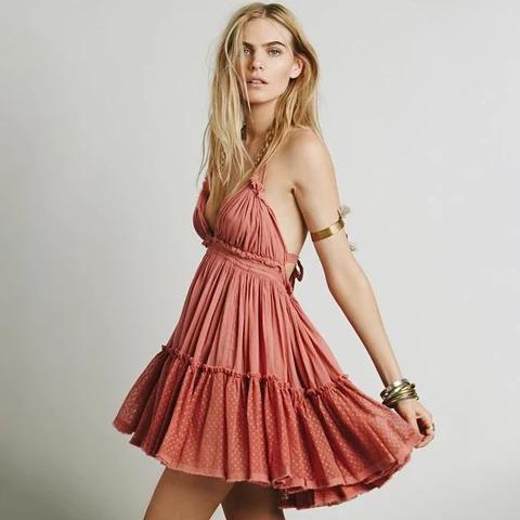 Bohemian Dress Sexy Spaghetti Strap V Neck Backless Dresses 13