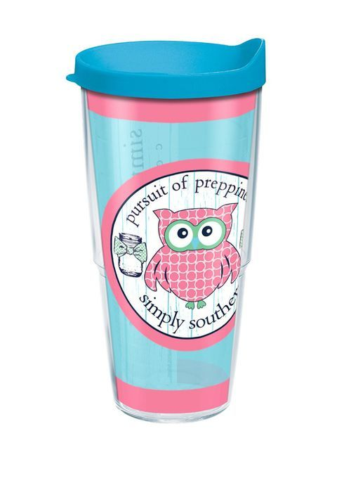 Simply Southern Preppy Owl Tumbler by Tervis will hold 24oz. of your favorite hot or cold beverages! This tumbler features double walled insulated construction, microwave and dishwasher safe, reduces