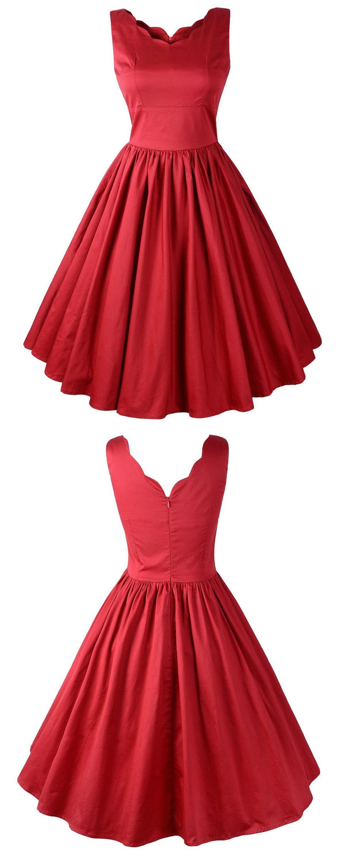Simple aline short red dress in evening dresses pinterest