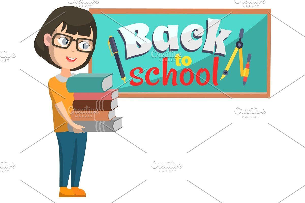 Girl stand near blackboard back to girl standing