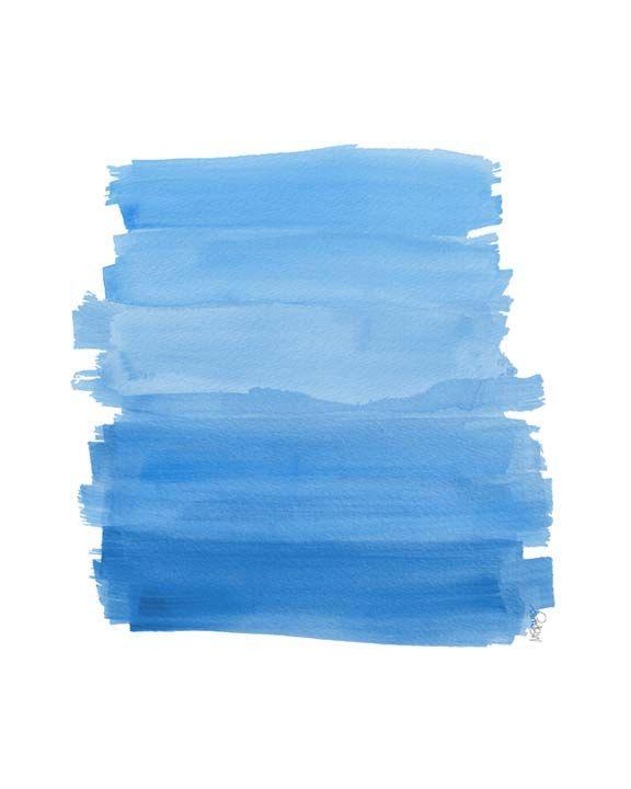 Ocean Blue Ombre Watercolor Art Print Beach Decor Coastal Decor