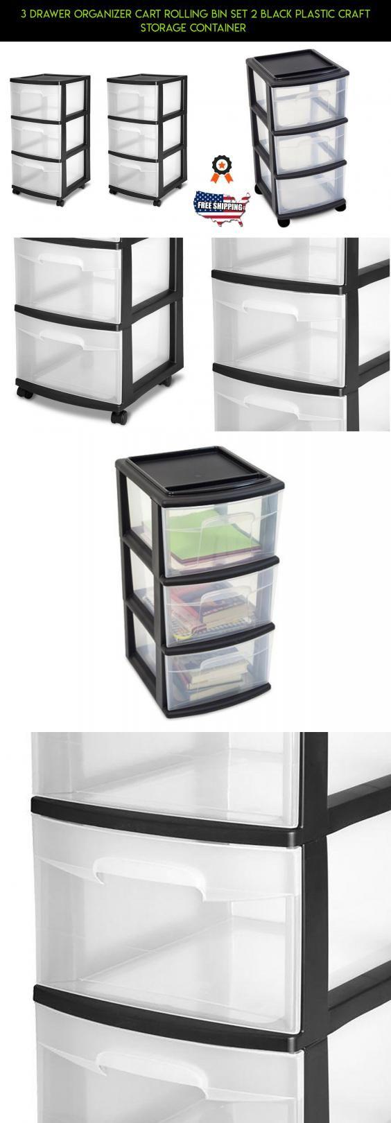 Craft storage drawers plastic - 3 Drawer Organizer Cart Rolling Bin Set 2 Black Plastic Craft Storage Container Technology