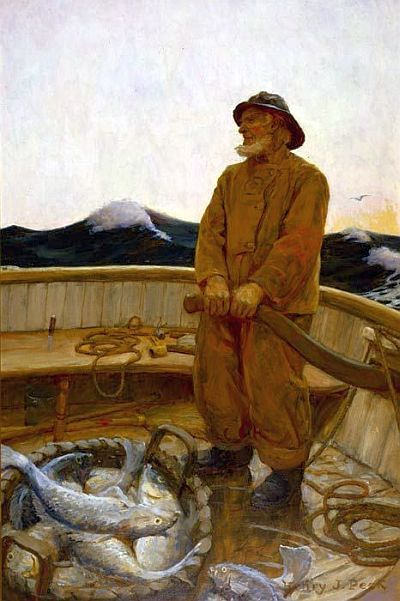 The Day's Catch - Henry J. Peck 1880 to 1964 - America, 1907, oil on canvas.