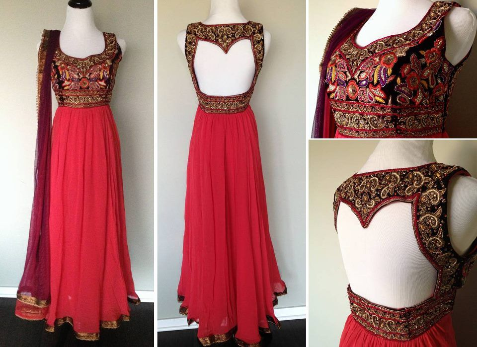 Red anarkali outfit back design a very desi wedding