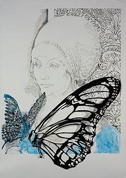 Stoff der Gedanken, Bleistift und Tusche auf Papier und Scherenschnitt, 83 x 58 cm