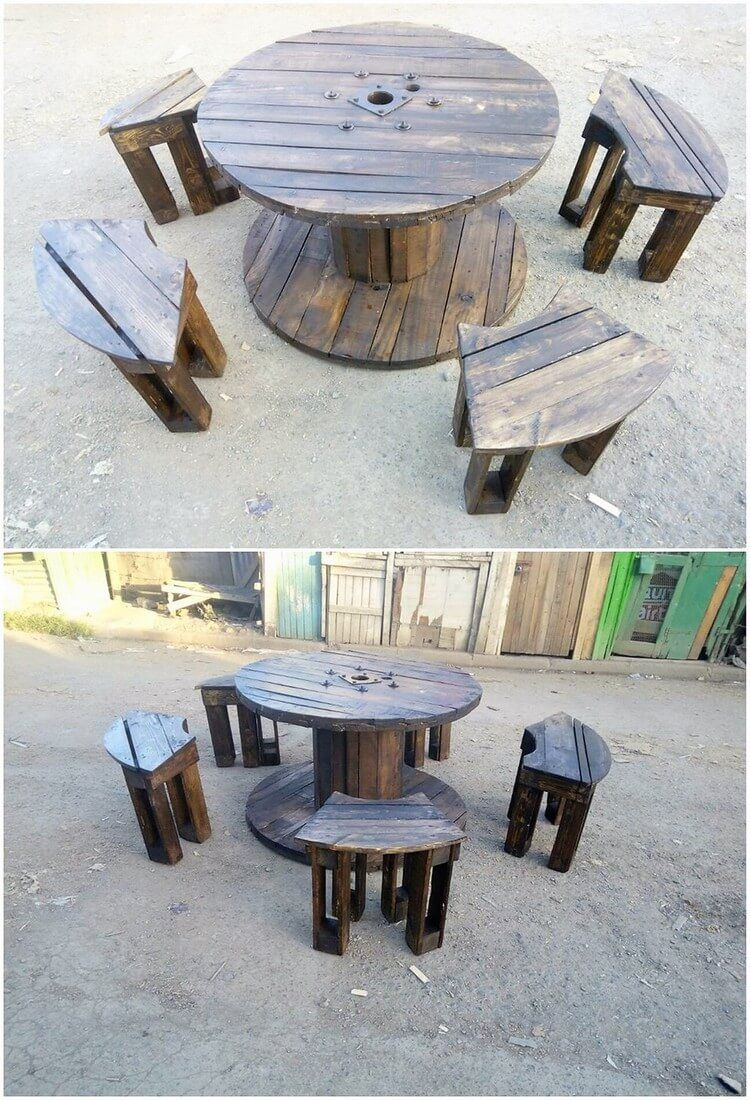 Recycled Pallet Table With Storage Wooden Pallet Furniture