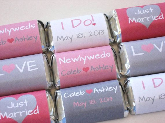 Diy Wedding Hershey Wrers Modern Personalized Mini Candy Labels Custom Colors Bridal Party Favors Pink Gray