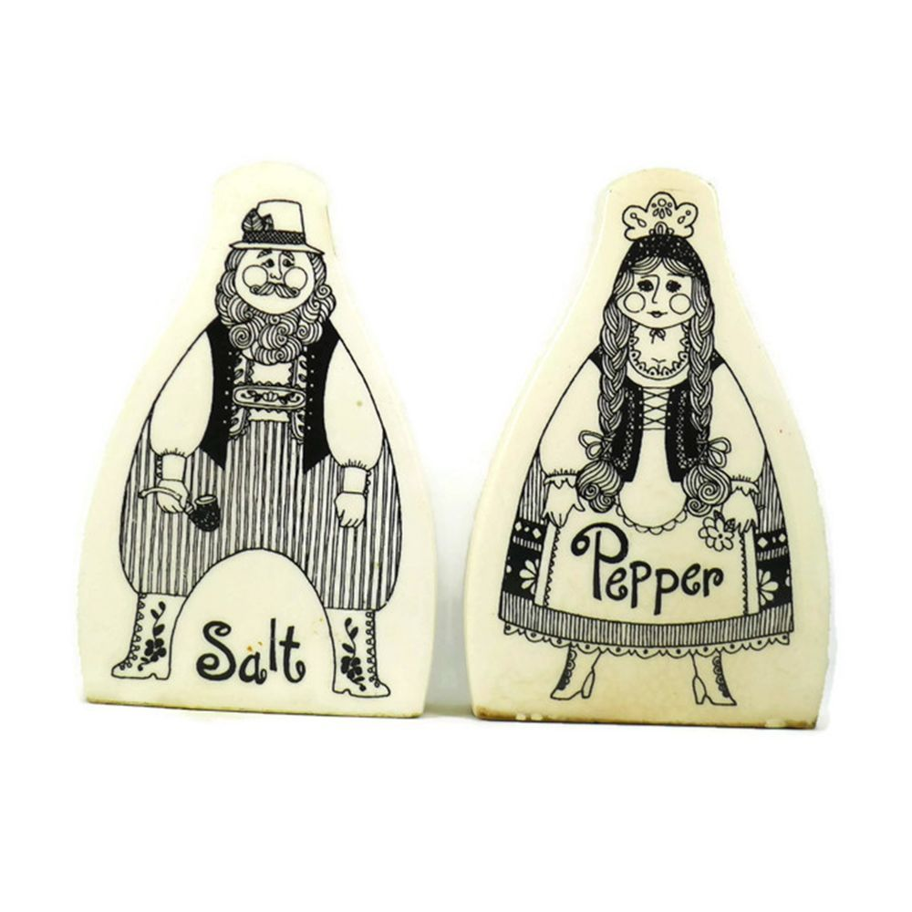 Vintage Pre Owned Decorative Collectible Porcelain Novelty Salt And Pepper  Shaker Set. White Base With Image Of A Man And Woman Dressed In Peasant  Style ...
