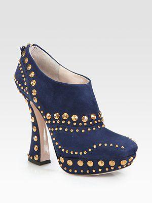Miu Miu - Suede Stud Curved Heel Ankle Boots - Saks.com