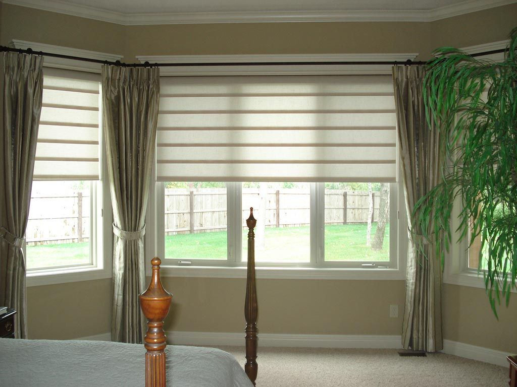 Bay Window Blind Ideas Blinds For Windows Curtains With Blinds