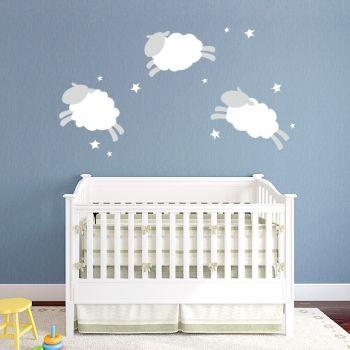 Cloud Sheep Printed Wall Decal Baby Room Sheep Cloud Wall Decal