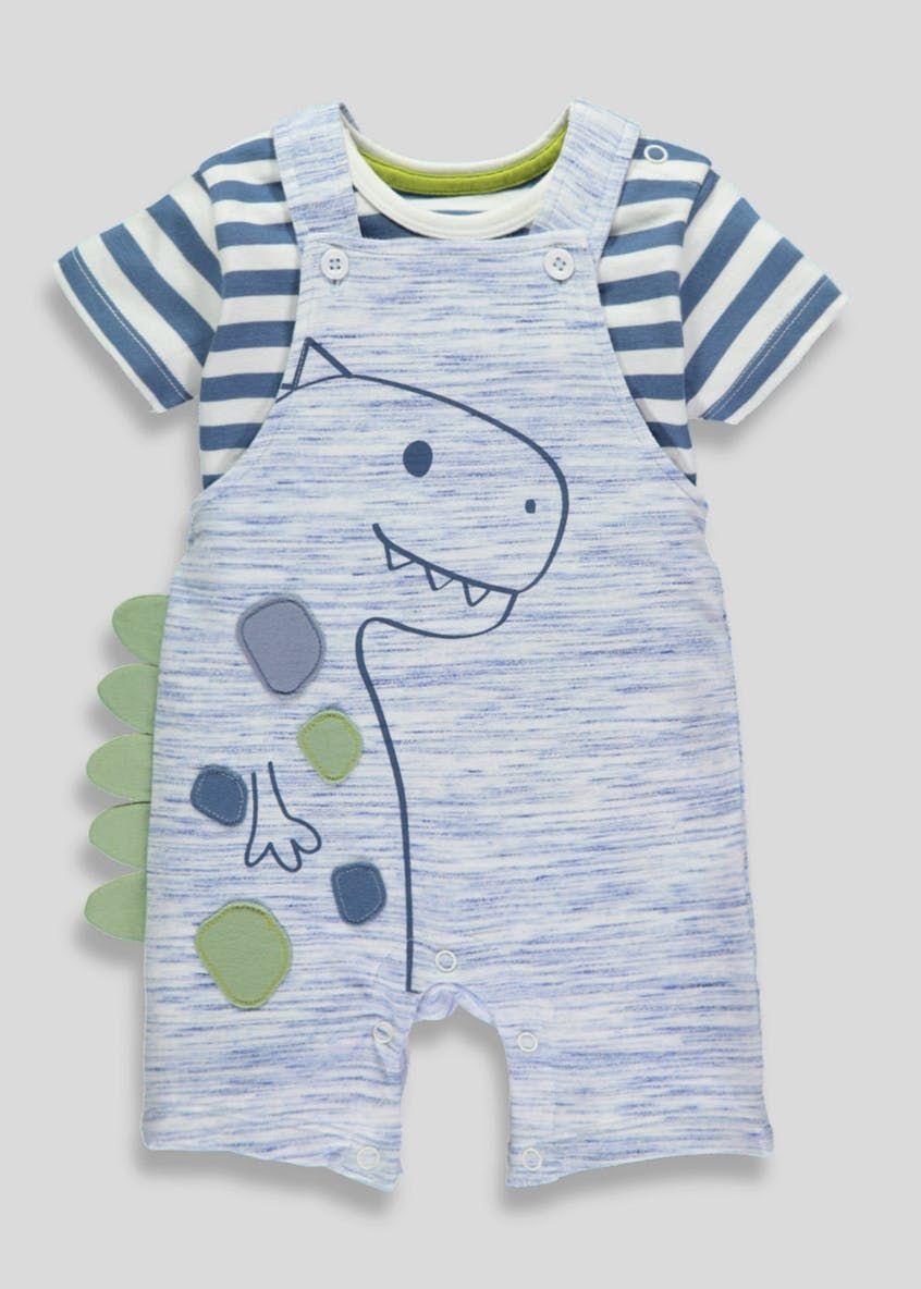 0bca8584f140 Boys Dinosaur Dungarees   T-Shirt Set (Newborn-18mths) – Blue