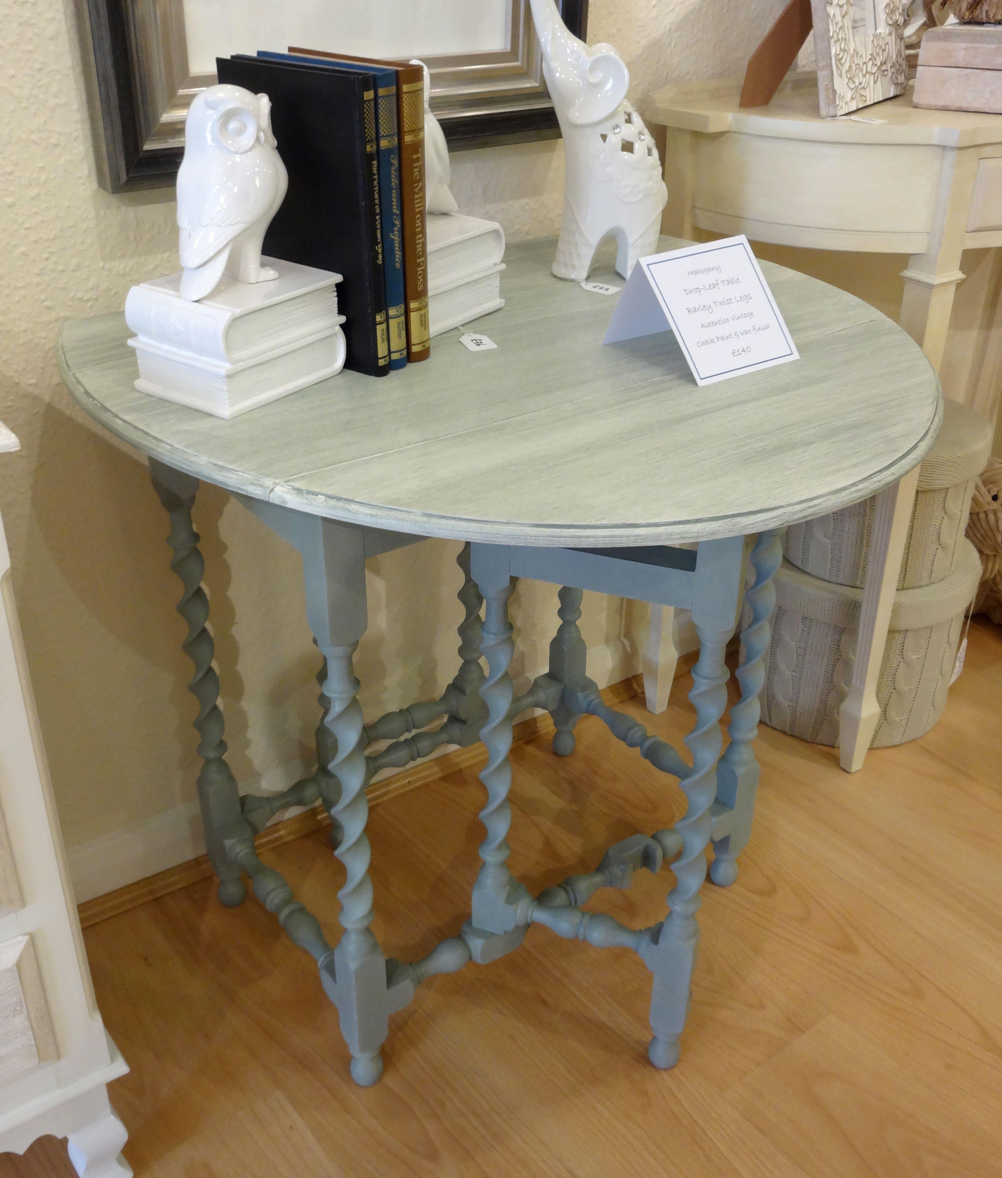 Oval oak gate-leg table with barley-twist legs, painted using ...