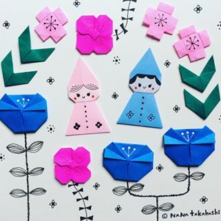 小人とお花 Origami Papercraft Illustration Elf Fairy お花