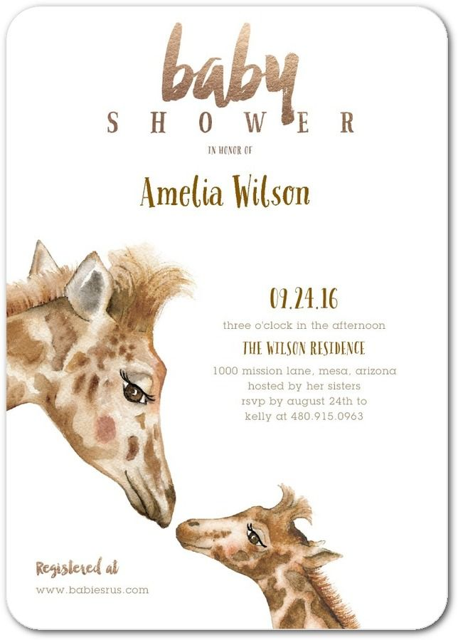 Giraffe Kiss Baby Shower Invitations in Sienna Brown Lady Jae