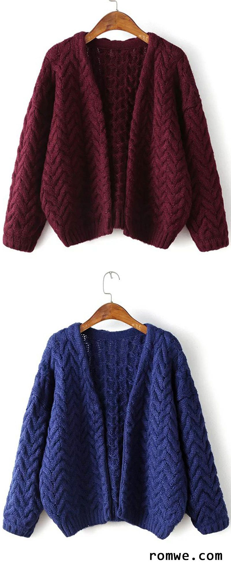 43600392a200 Navy Open Front Cable Knit Loose Sweater Coat