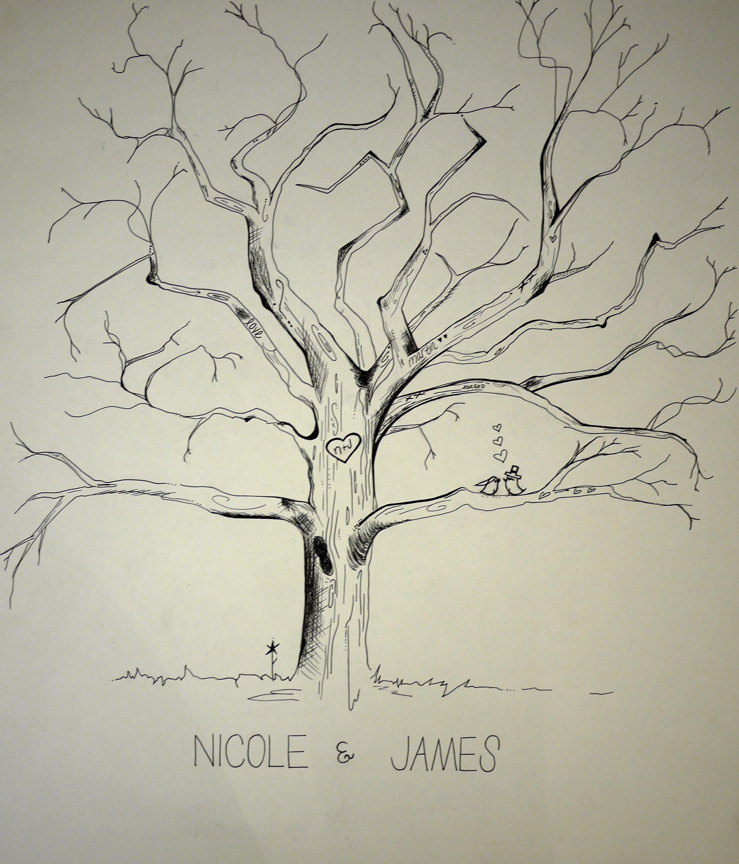 Extra Large Oak Thumbprint Guest Book Tree 26x20 Customized: Community Life Ideas
