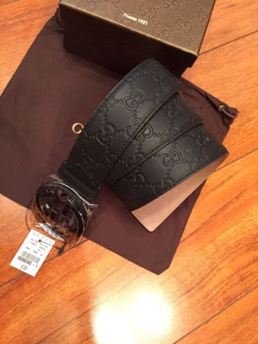 a4171be760d Authentic-New-Mens-Black-Gucci-Belt-Guccissima-95Cm-32-34