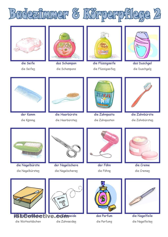 Badezimmer Korperpflege 2 Deutsch Lernen Deutsch Lernen Kinder Deutsche Grammatik