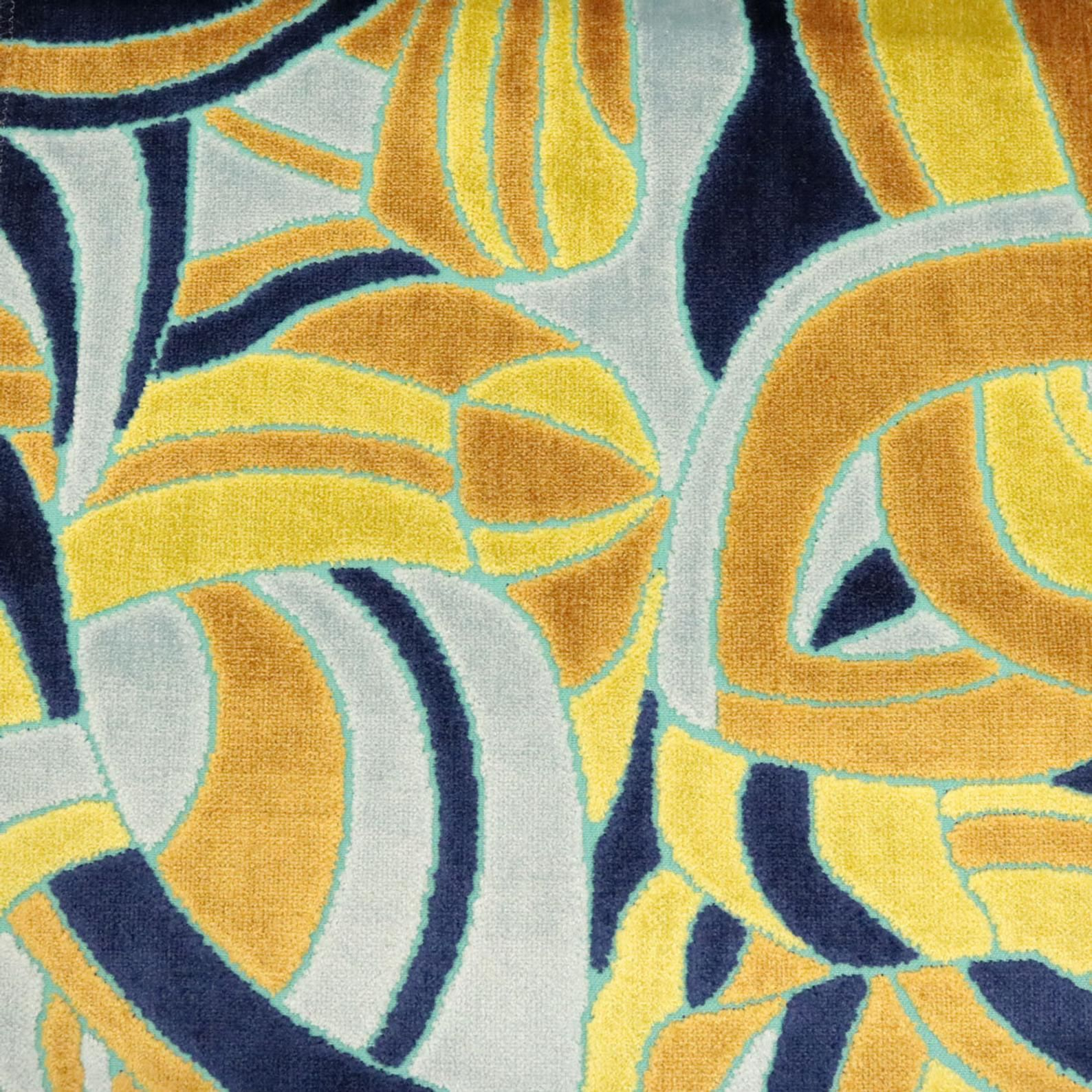 Velvet Upholstery Fabric - Crescent - Modern Pattern Cut Velvet Upholstery Fabric by the Yard - Seashore