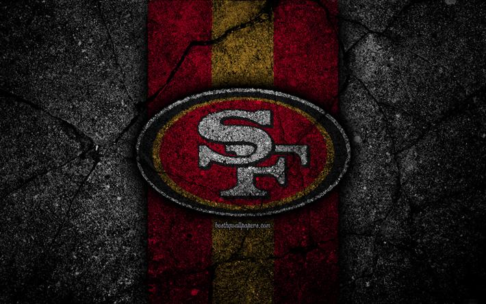Download wallpapers 4k, San Francisco 49ers, logo, black
