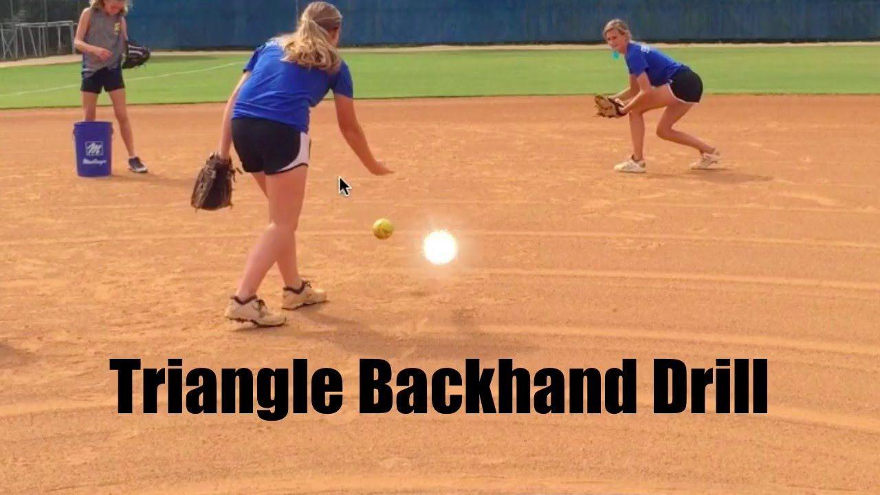 Infield Softball Drills Triangle Backhand Drill Softball Drills Softball Training Softball Coach