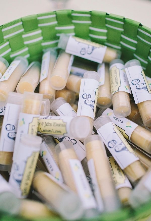 Customized chapsticks for wedding favors // Stephanie Court Photography