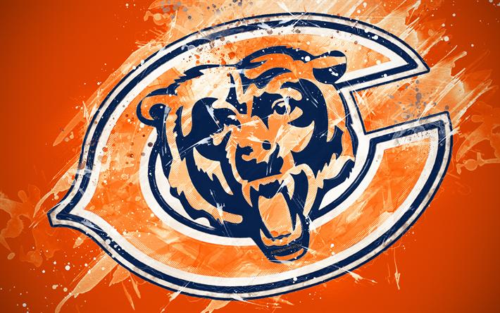 Download wallpapers Chicago Bears, 4k, logo, grunge art